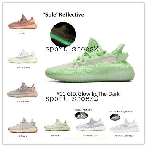 Damla Nakliye Kanye West Kil V2 Statik Yansıtıcı Glow In Dark Erkek Ayakkabı Koşu Gerçek Formu Kadınlar Erkekler Tasarımcı Sneakers Açık 11
