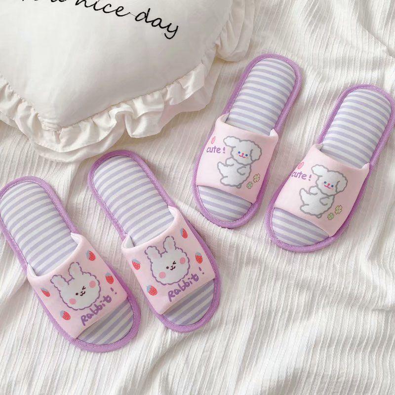 Крытый Pink Dog Тапочки мультфильм Удобная платформы обувь женщина скольжения на Soft Квартиры Casual Пол Трусы Женщины Главная Обувь