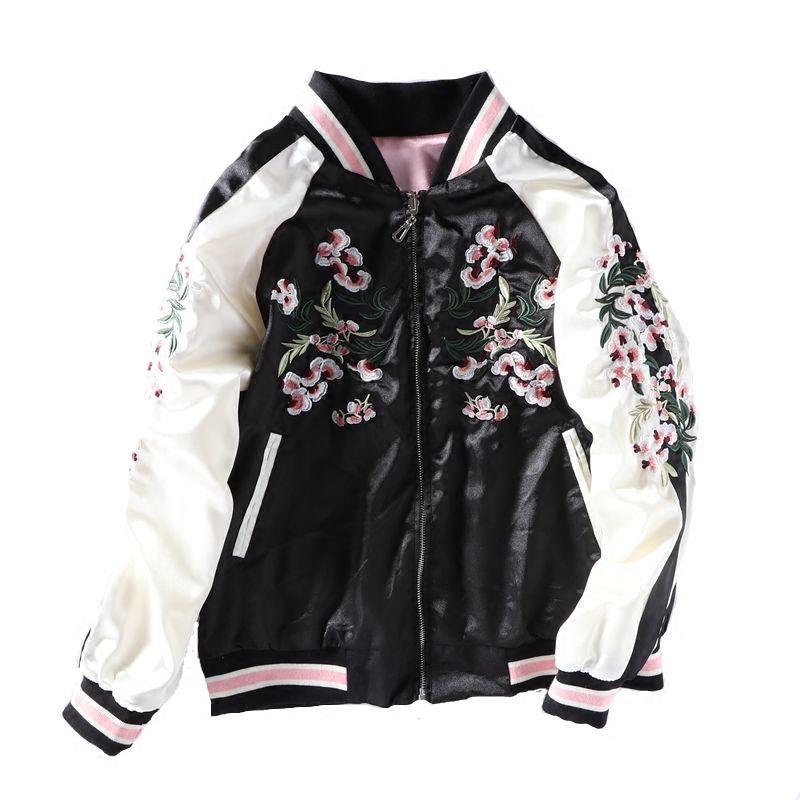 Las nuevas señoras del bordado de flores de cerezo de la chaqueta de bombardero Casual mujer de manga larga Tops de la cremallera Outwear chaquetas tapas flojas Escudo básico
