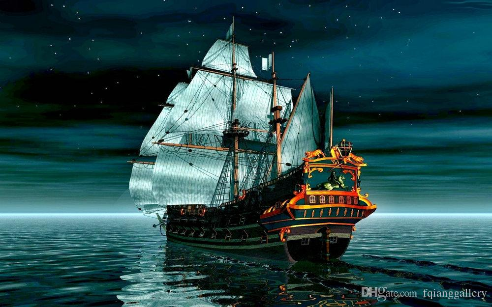 Best Gift Home Decor Artistic Ship Boat Oil Painting Picture Printed On Canvas