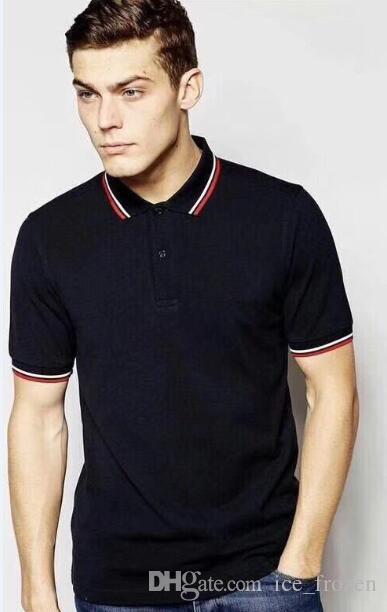2020 di alta qualità supera i T Mens Londra Brit polo di stile di modo estate T-shirt manica corta solido Inghilterra Polo Foglia ricami neri