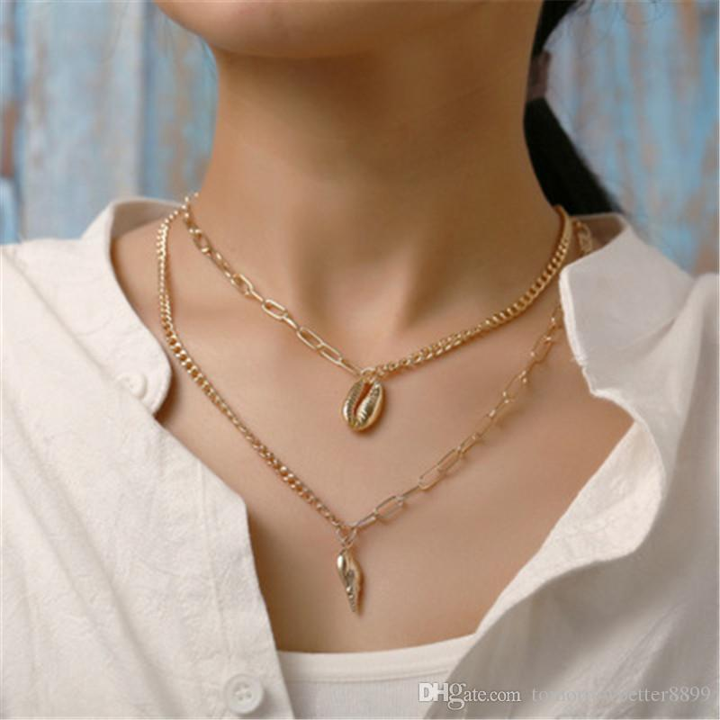 Gold Color Bead Cowrie Shell Choker Necklace for Women Coin Sequin Pendant Necklace Imitation Pearl Statement Collier