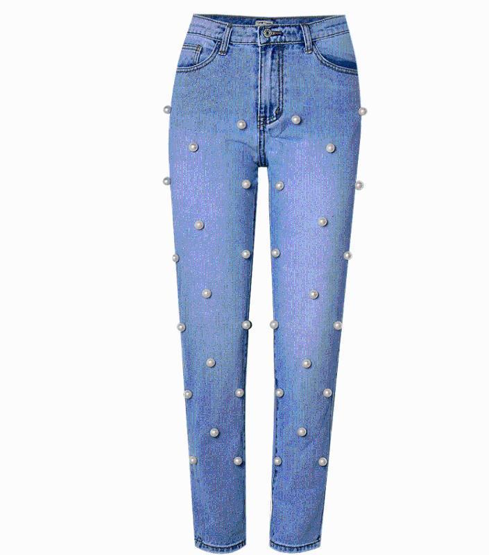 Moda Grandes rebordear Perlas Jeans para las mujeres de cintura alta Boyfriend Jeans mamá recta ocasionales flojas