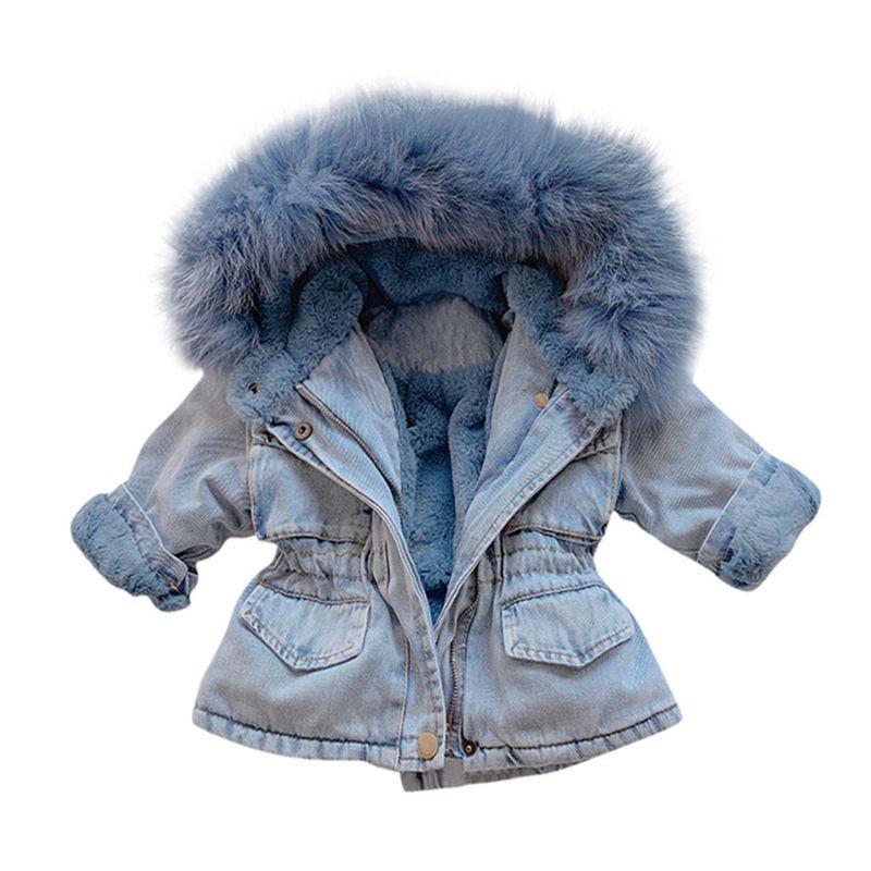Jeansjacke dicke Winter-Baby-Plus-Velvet-Pelz-Fleece-Jacke Kleinkind-Mädchen-Oberbekleidung für Kinder Infant Warmer Parka