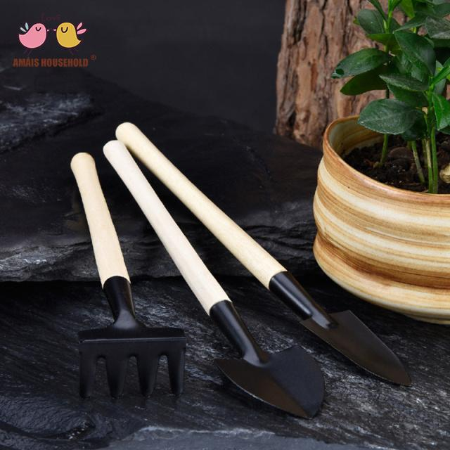 100sets Wood Handle Painted Iron Mini Spade Shovel Rake Garden Tools Parent-Child Game Tools Wholesale