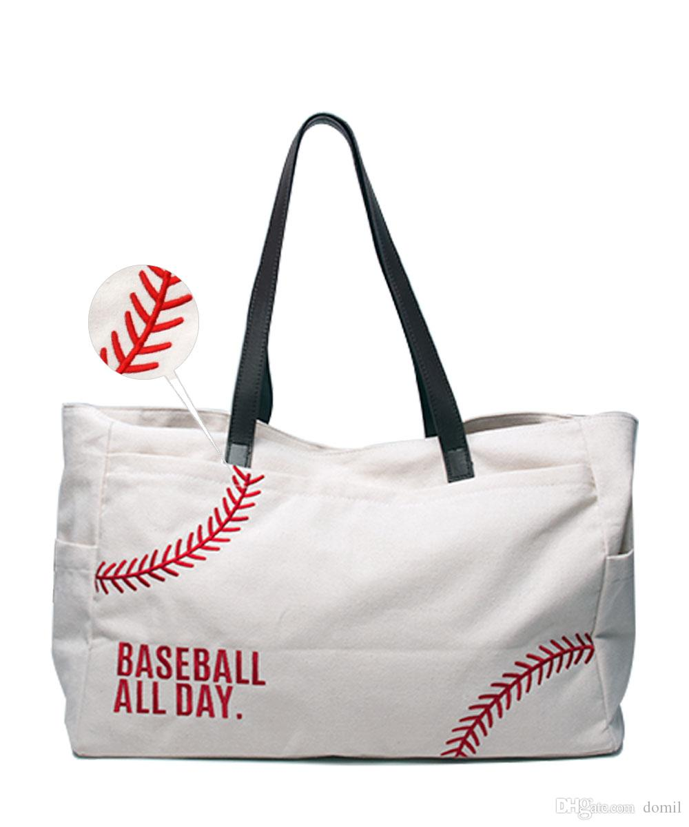Embroidery Baseball Tote Bag Wholesale Blanks Large Women Sport Casual Tote Handbag Cotton Canvas Weekenderl Bag Shoulder Bags Gifts DOM1477