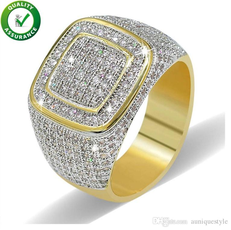 Hip Hop Diamond Ring Mens Hip Hop Designer Jewelry Iced Out Micro Pave CZ Rings Women Men Gold Ring Love Fashion Bling Rock