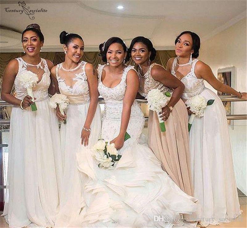 2019 Robe de demoiselle d'honneur africaine longue Sheer Jewel cou perles Appliques soirée de mariage formelle Invité demoiselle d'honneur robe Plus Size