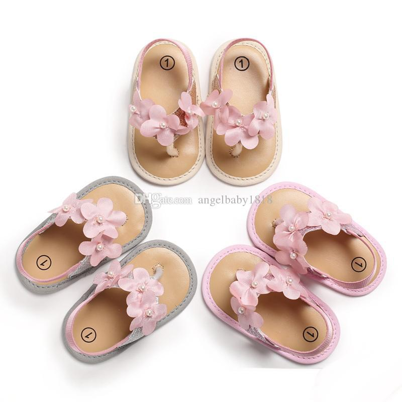 Baby Girls thong sandals 3 colors flower immitation pearls decoration summer shoes Toddlers cute slip-on sandals 0-18m 2019 summer new