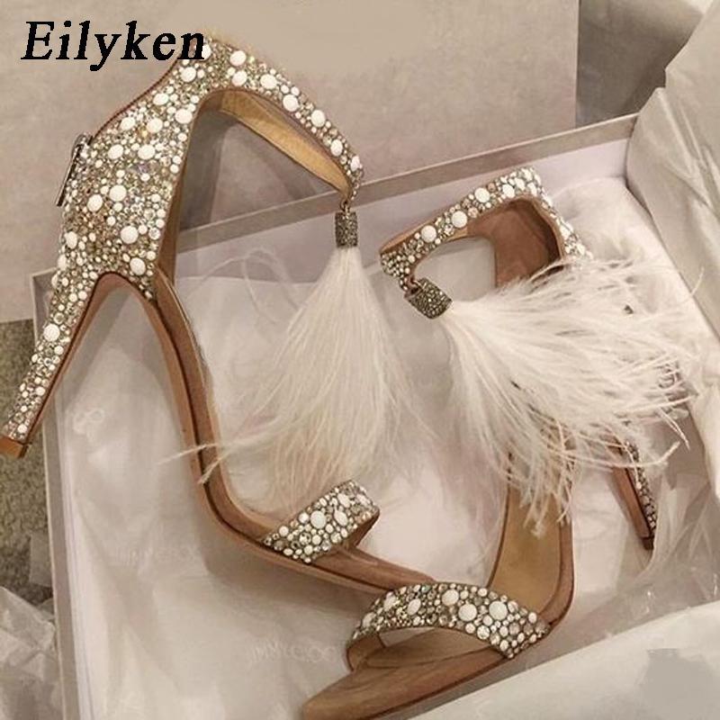 Eilyken Sexy Women Sandals Pumps Summer Rhinestone Zipper Feather High Heel Apricot Women Wedding Pumps Shoes Y190704