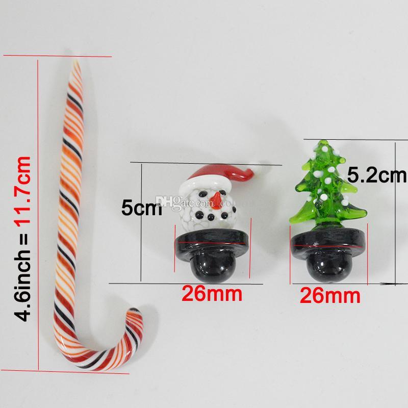 폭행 그릇을 살짝 굴착을위한 지팡이 두꺼운 Dabber 산타 모자는 기억 만 키트 흡연 외경 26mm 크리스마스 나무 유리 수화물 캡 눈사람 버블 탄수화물 캡