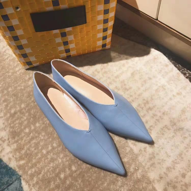 New style women genuine leather pointed toes flat shoes female comfortable elegant loafers free epacket shipping