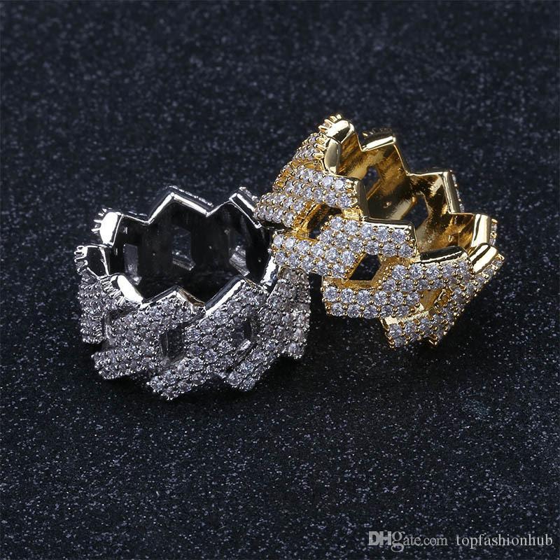Rhombic Hip Hop Ring Punk Rock Hip Hop Joyas de moda Anillos masculinos Oro Color de plata Adornos