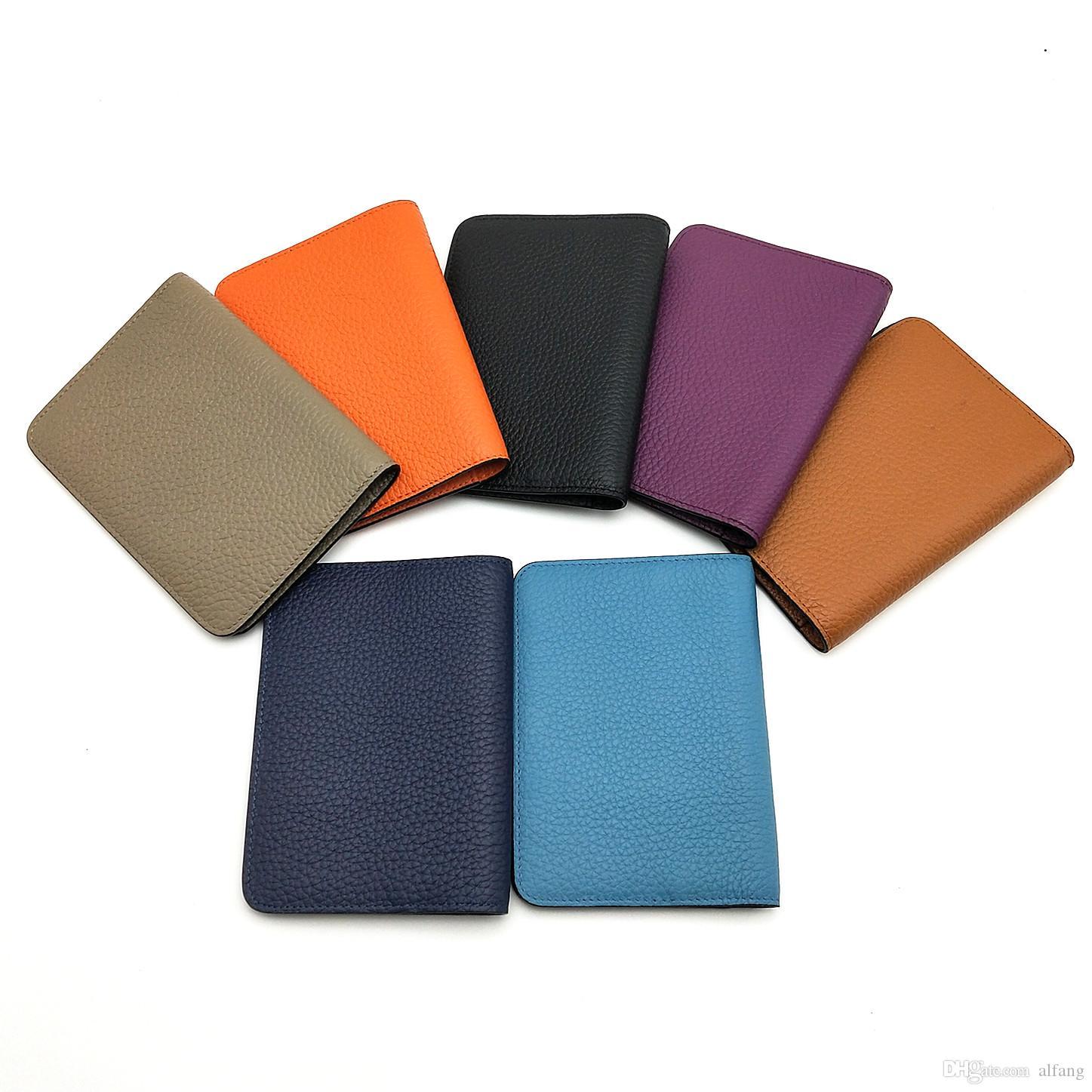 Moda de alta qualidade Passaporte Capa Homens Mulheres de couro real Passaporte Covers ID titular do cartão Porta For Business Travel With Box