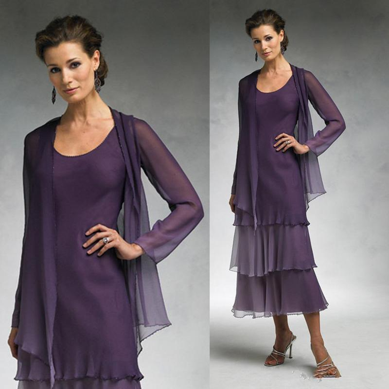 Elegant Grape Ankle Length Mother Of The Bride Dresses For Outdoor Beach Wedding Scoop Groom Mom Wear Evening Gowns With Free Jackets