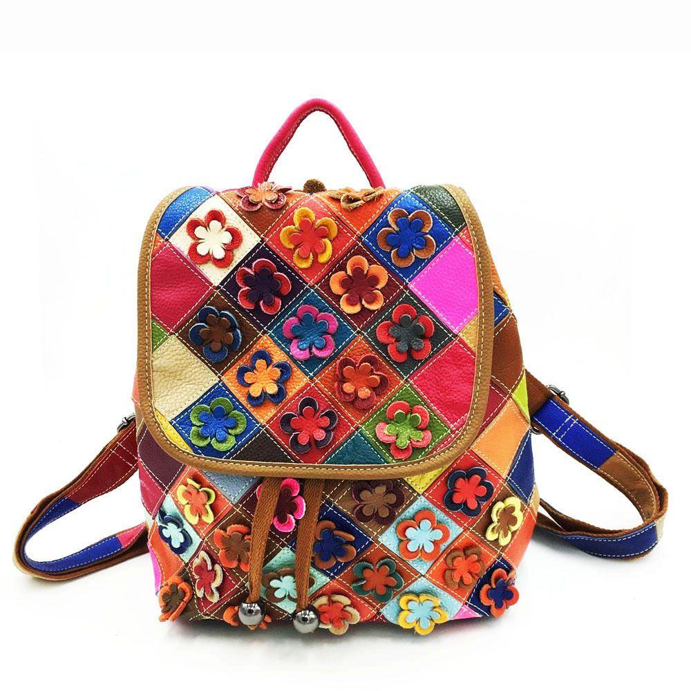 Pelle backpackage pannello color cuoio fiore zaino 2020 delle donne 7PWP