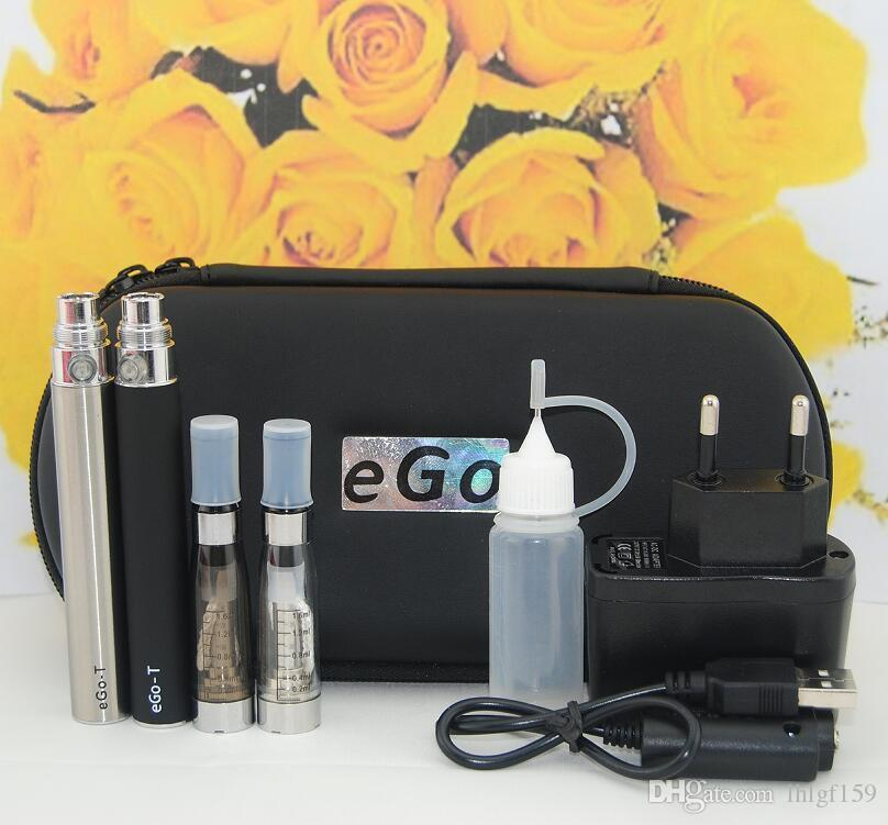 1Pcs Double eGo-T CE4 Starter Kit E Cigarette Vapor 650 900 1100mAh Battery 1.6ml CE4 Clearomizer E Cig Set Zipper Case Vape Pen Kit