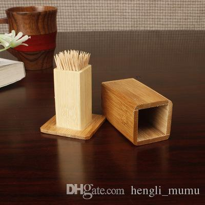 Hot Bamboo Toothpick Box With Lid Square Tank Toothpick Holders Bamboo Wood Home Kitchen Tools Toothpick Holder ZJ0125