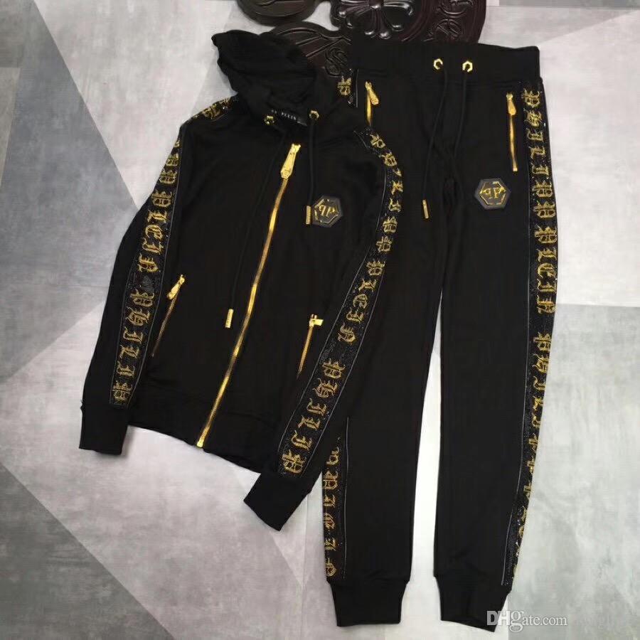 Avrupa tasarımcı erkek moda fermuar spor suit erkek casual baskı gömlek takım elbise ve pantolon Medusa kapşonlu spor