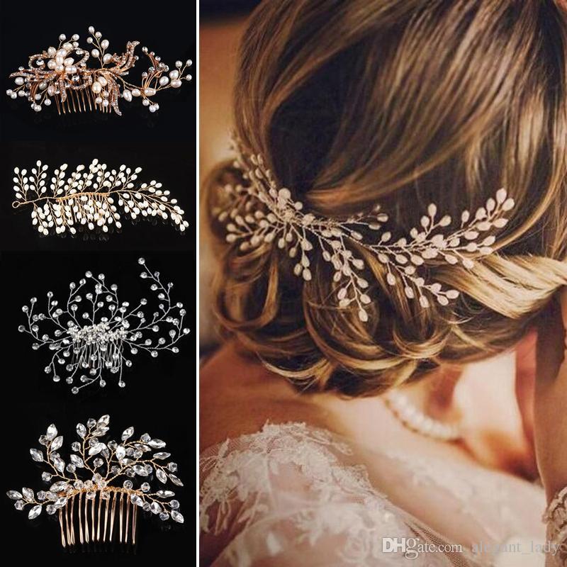 2019 Western Boho Hochzeit Mode Kopfschmuck für die Braut handgemachte Hochzeit Krone Blumen Perle Haarschmuck Haarschmuck