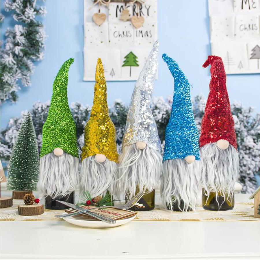 Festa de capa dos desenhos animados garrafa Papai Noel lantejoulas lantejoulas lantejoulas chapéu ooa7370 Decoração de mesa de garrafa Natal xmas suprimentos gdsfr