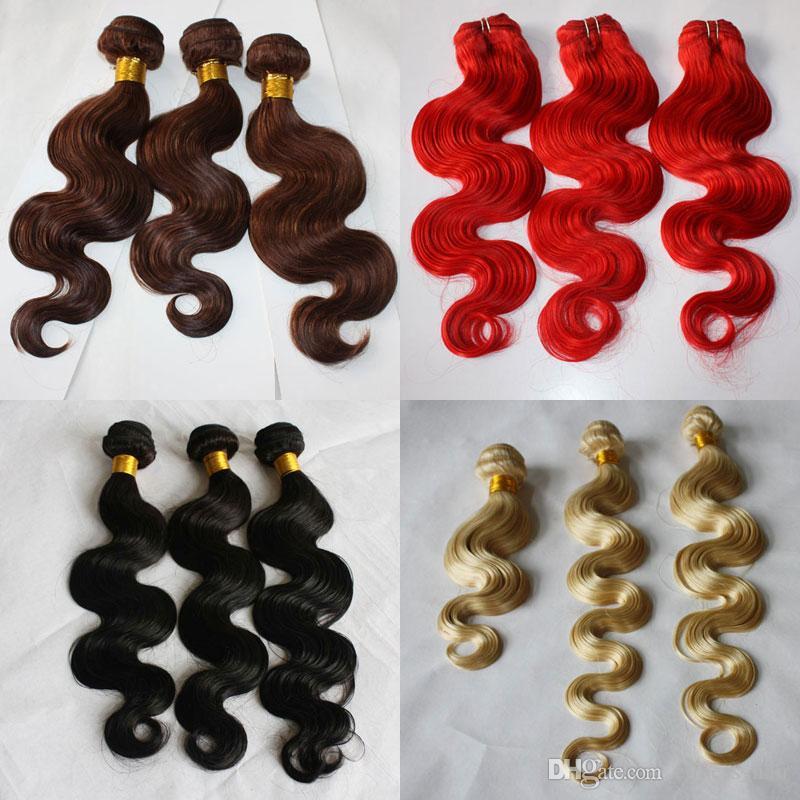 100g / piece 3pcs / lot Körper-Welle Blond Rot 33 Natürliches Schwarz 100 Menschenhaar-Webart-einschlag Weave