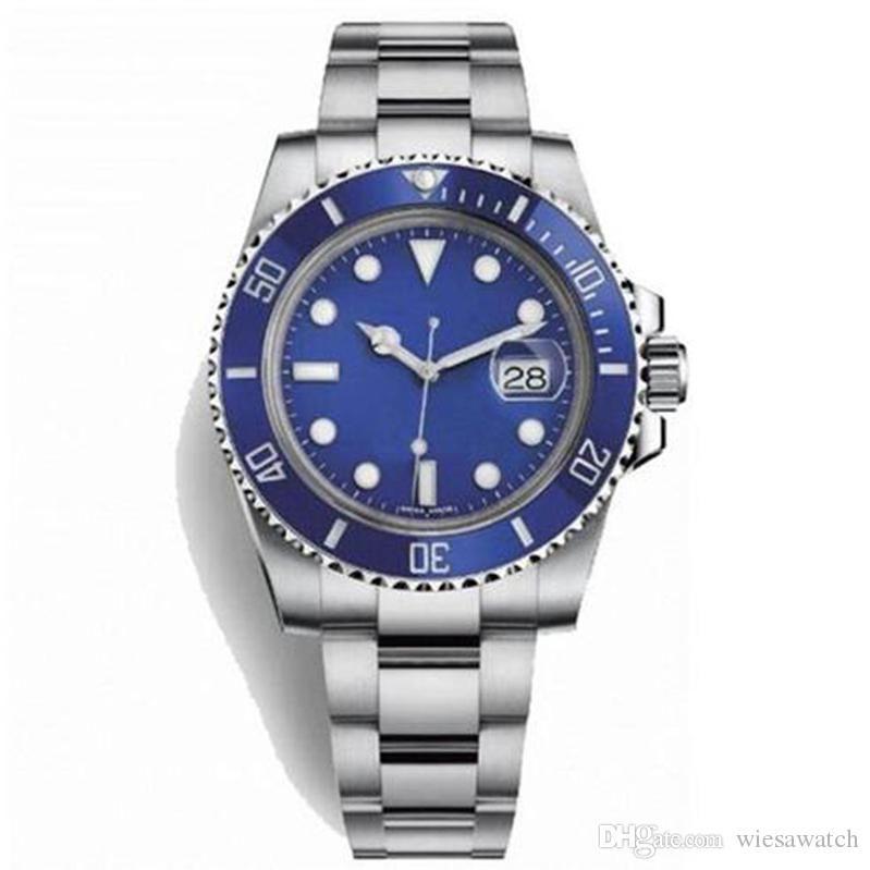 Mostrador azul luminoso Mens Watch Como Uma estrela na noite Cerâmica Bezel 2813 mecânico automático de aço inoxidável dos homens Relógios de pulso