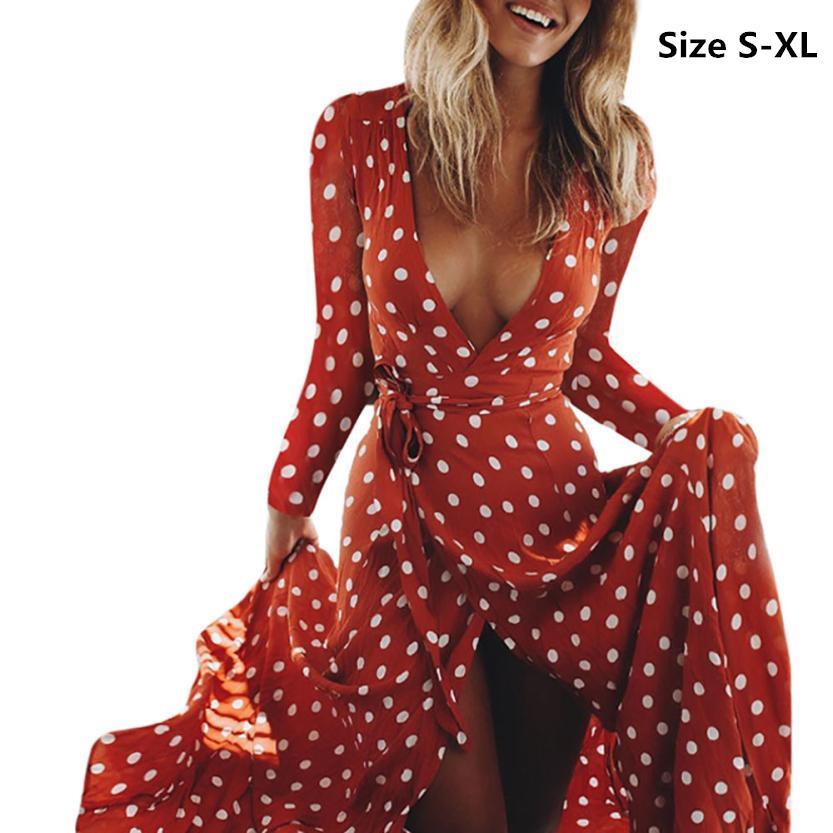 여성 드레스 보헤미안 섹시한 V 넥 폴카 도트 프린트 긴 소매 비치 파티 긴 맥시 드레스 sundress에의 vestidos femininos 가운 크기 S-XL