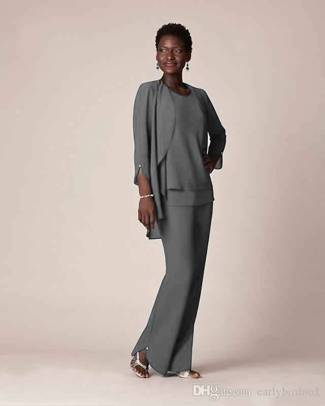 Billig grå chiffong formell byxa kostymer för mor brudgummen klänning kväll slitage lång mor till bruden klänningar med jackor plus storlek anpassade gjorda