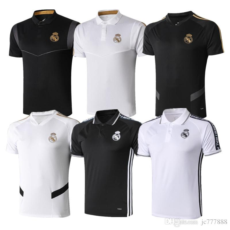2019 Real Madrid Polo Camisa de Futebol Branco 19/20 Real Madrid PERIGO Camisa POLO Preto RAMOS MODRIC ASENSIO ISCO Futebol POLO Uniformes
