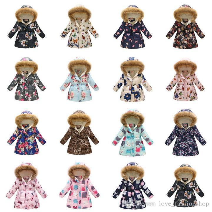 Retail 36 styles Christmas kids hoodie coats Winter boys girls warm thicken floral printed long collar hoodies down jacket fur coat kid designer clothing