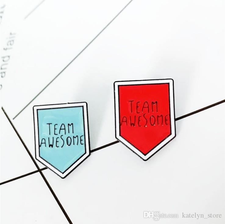 Fashion Cartoon TEAM AWESOME Brooch Arrow Pins Enamel Pin Great Team Jewelry Brooches for Women Men Icon Personality Badge