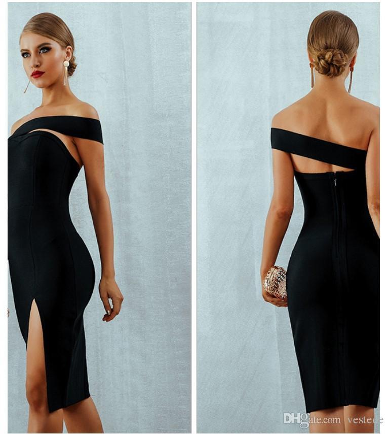 여자 오프 숄더 튜브 톱 드레스 슬림 단색 섹시한 분할 파티 드레스 Famale 디자이너 패션 의류