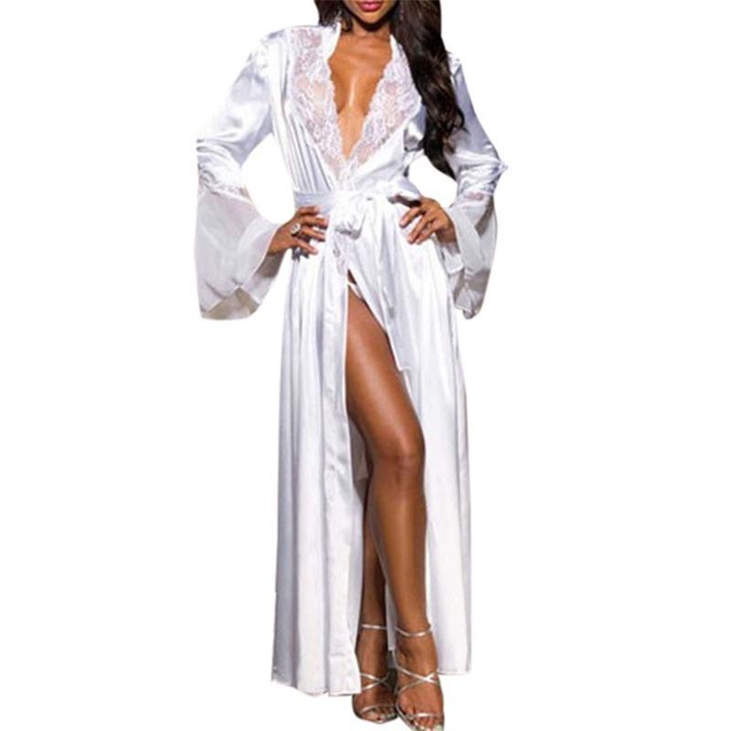 Costura kimono camisón conjunto con la correa bragas Mujer atractiva del cordón de seda pijamas Batas Primavera largo más el tamaño de la ropa interior ropa de dormir