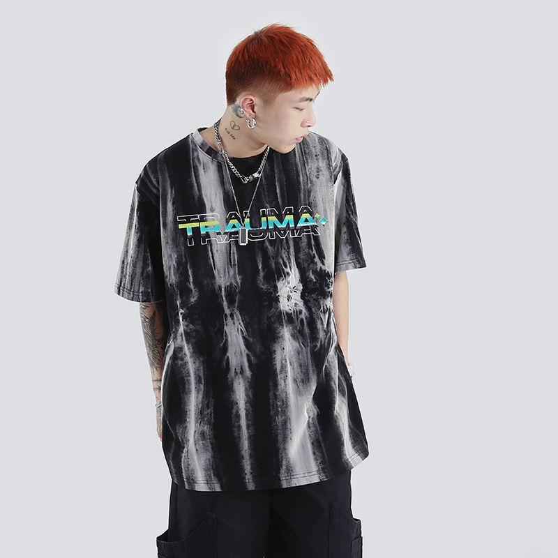 Marque Fashion Luxury Designer Hommes 2020 d'été Nouveau Tie-Dye dégradé noyau dur rock neutre à manches courtes T-shirt Burst Sable Wash vieux couple