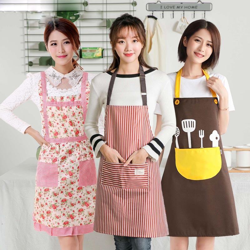 Bib Aprons Baking Restaurant Waterproof Women Chef Cooking Kitchen Floral