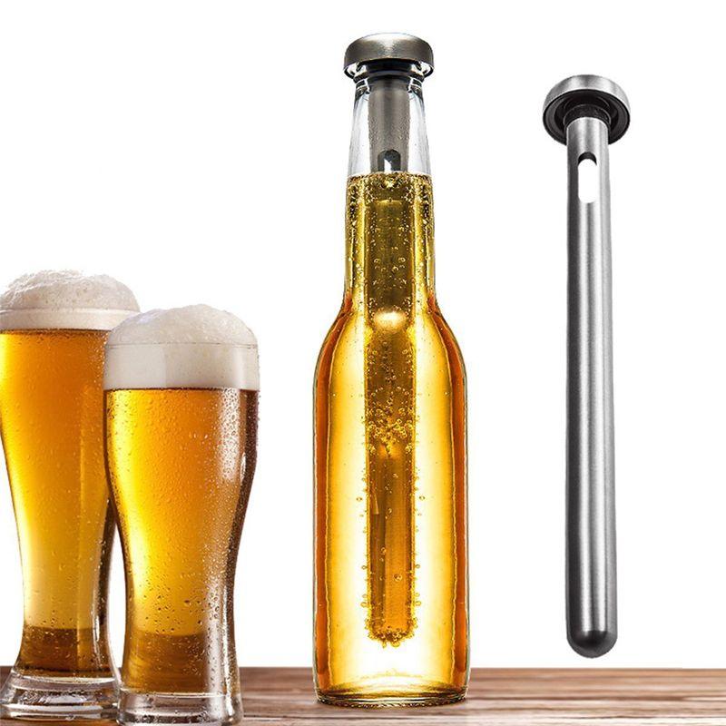 2 PZ / SET In Acciaio Inox Ice Wine Chiller Stick Con Vino Pourer Bastone di Raffreddamento Dispositivo di Raffreddamento Bevanda di Birra Frozen Stick Bar Strumento Perfetto Birra Regalo