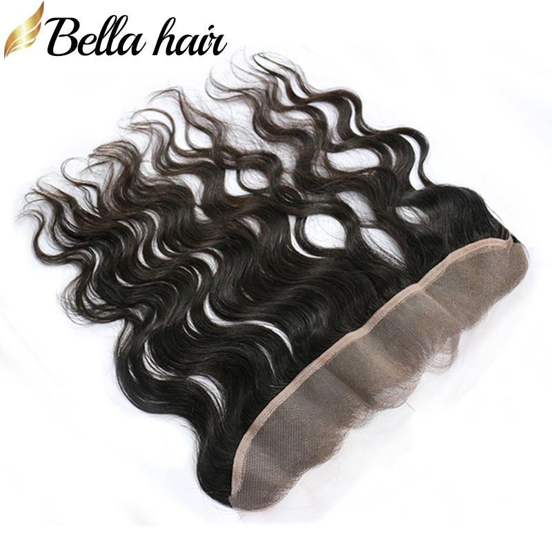 Brasiliansk Virgin Human Hair Top Closure Ear Till Ear Closure Body Wave Lace Frontal 2 * 13 Naturfärg Hårförlängningar Bellahair