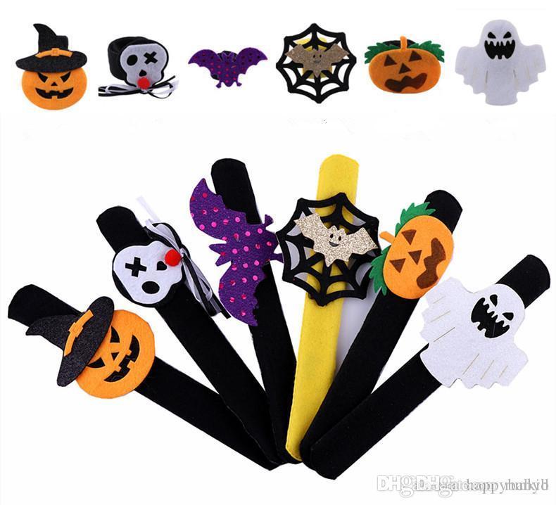 Нового прибытие Творческого Хэллоуин Slap мгновенного Тыква Призрак Bat браслет браслет Дети взрослые Хэллоуин Loop украшение Хэллоуина игрушка