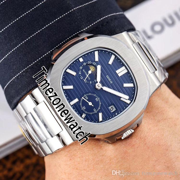 Nuevo Nautilus 5712 Caja de acero Automático Fase de la luna del reloj para hombre de D-azul de la textura Dial 40 mm Pulsera de acero inoxidable Relojes Timezonewatch E81c3