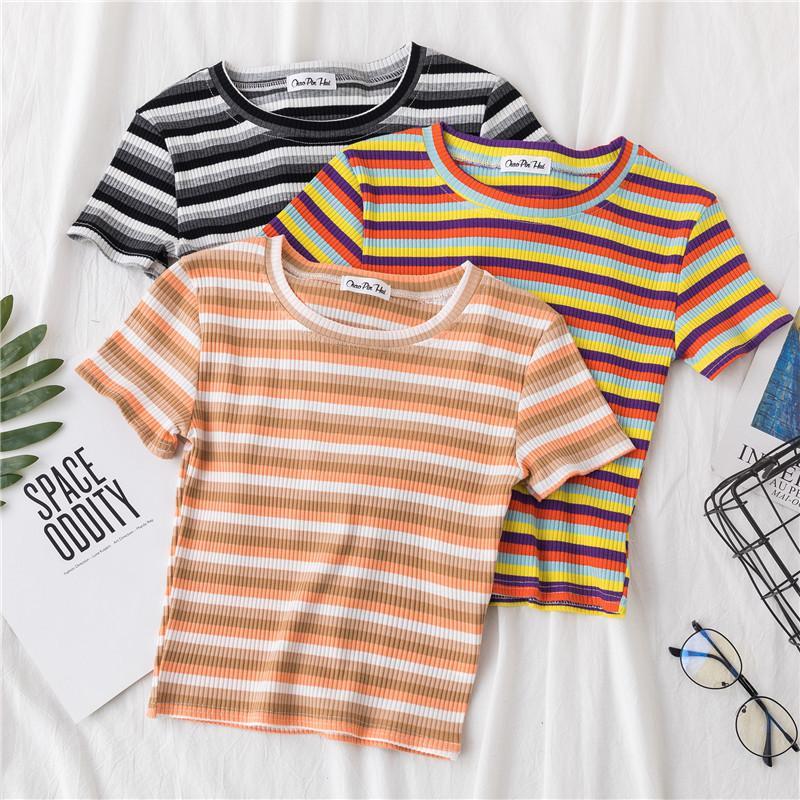verano gráficos tees mujeres ulzzang camiseta de manga corta de Corea del arco iris de Kawaii rayas camisetas Harajuku tapa de la cosecha del O-cuello Casual