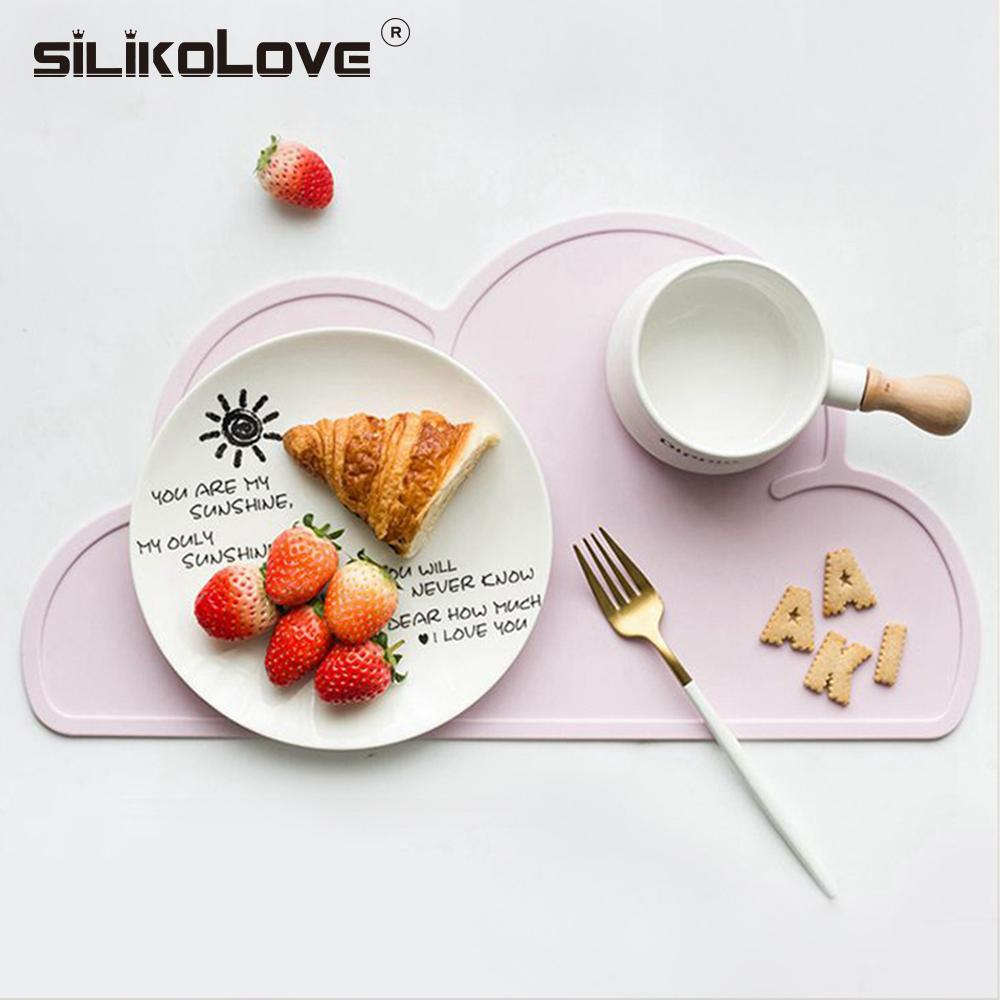 Cute Silicone Placemat FDA Mat Baby Kids Cloud Shaped Plate Mat Table Mat BPA Free Waterproof Set Home Kitchen