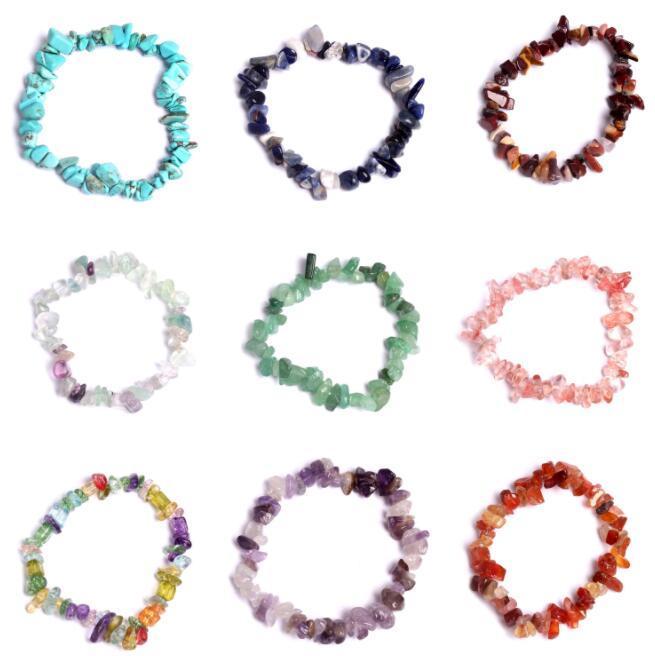 Natural Healing Kristall Armband Sodalith Chip Edelstein 18cm Stretch-Armband Naturstein Luxus-Designer-A0186 Armbänder Schmuck Frauen