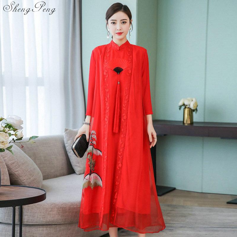 New Chinese traditional dress women oriental elegant dress Chinese classical qipao style modern cheongsam V1494
