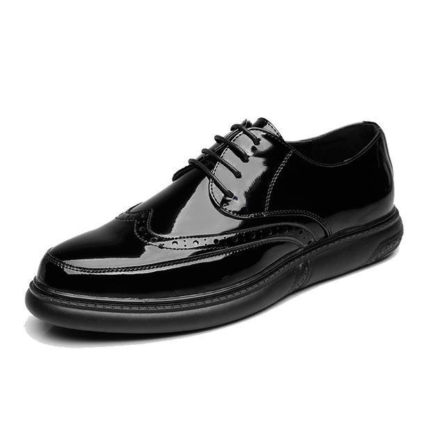 جديد وصول الرجال السود اللباس أحذية سميكة وحيد براءات الاختراع والجلود البروغ حذاء أيرلندي أحذية الرجل حزب الترفيه أنيق البريطانية