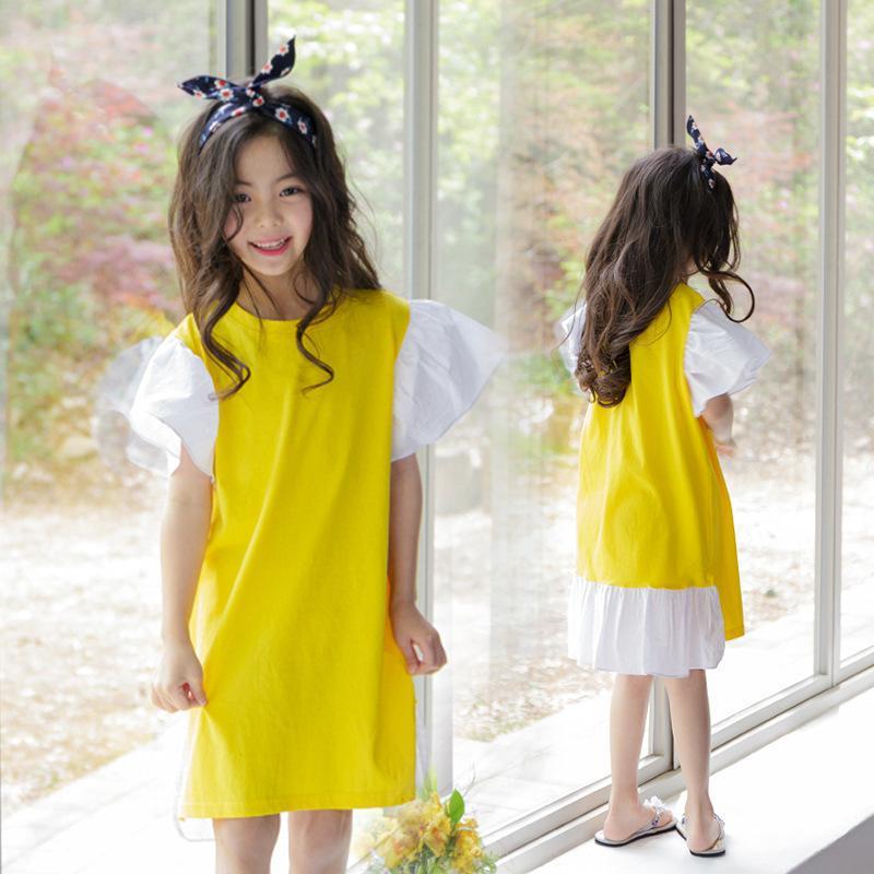 Volants Patchwork Petite Grande Fille En Coton Eté Jaune Enfants Robes Designs Adolescent Enfants Boutique Vêtements 2019 J190514