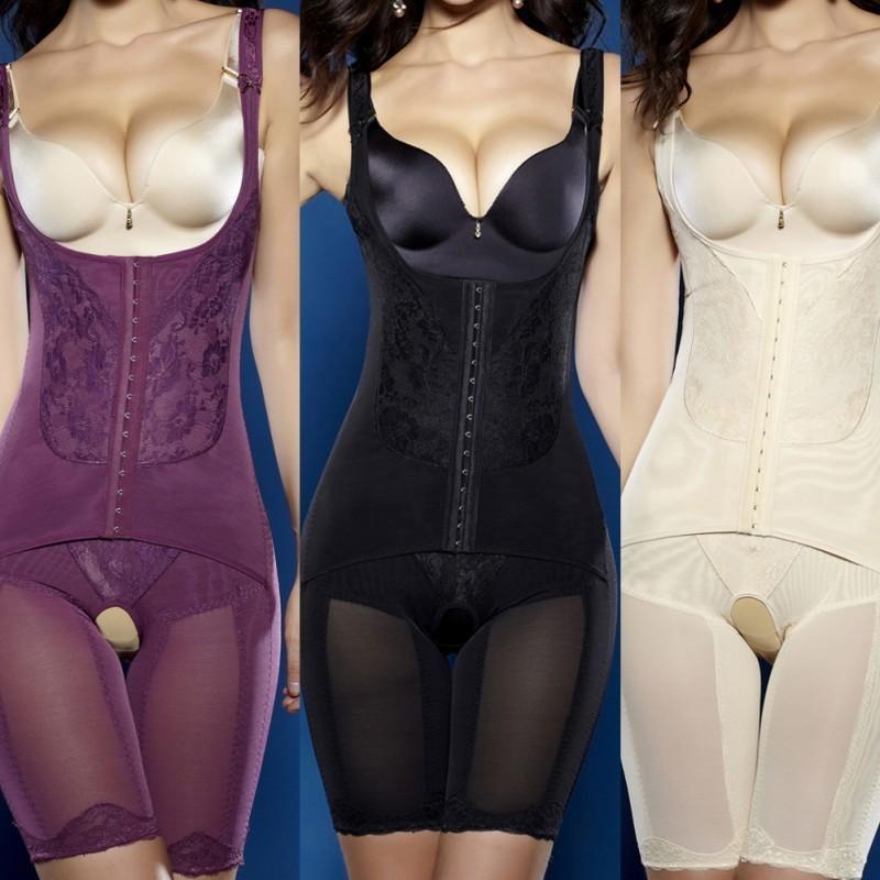 Женщины Бесшовные Корректирующее белье Пояс тренер похудения нижнее белье Push Up Bust тело Bodysuit Shaper Плюс размер