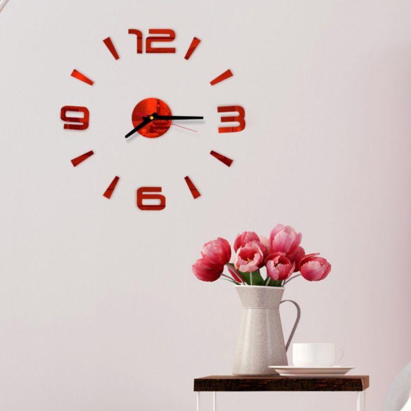 Frameless Wall Art Decor para sala de estar Números DIY relógio de parede 3D Acrílico Etiqueta árabe adesivo Modern Bedroom
