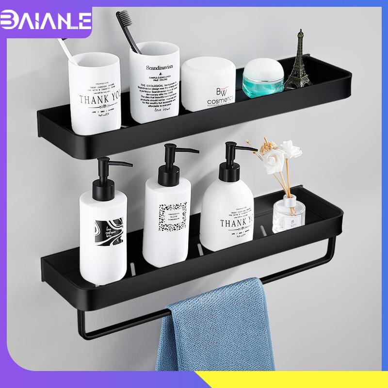 Bathroom Shelf Black with Towel Bar Space Aluminum Bathroom Shelves Shampoo Holder Shower Caddy Rack Corner Kitchen Storage Rack CX200704