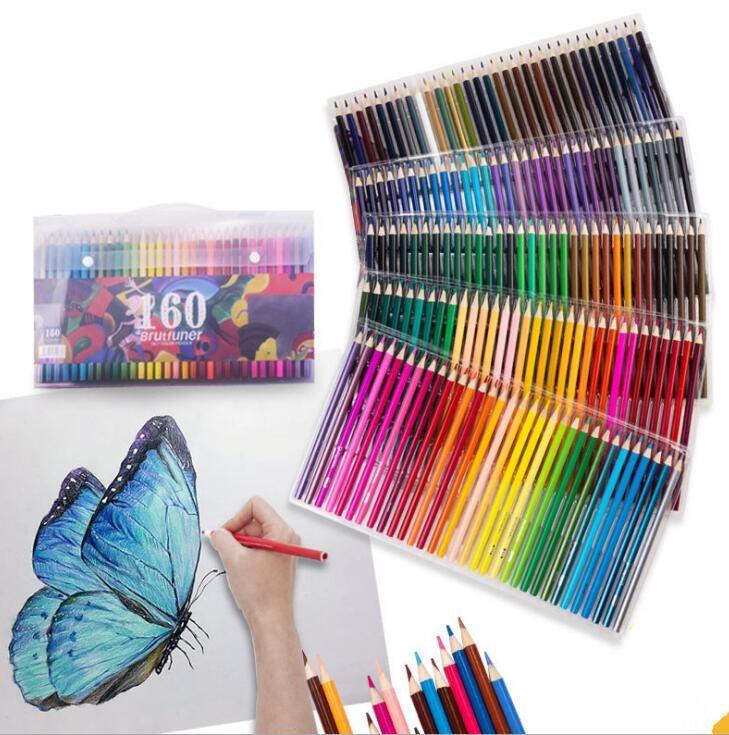 Boyama Kalemler Yağlı renk kalem 160 renk el-boyalı boyama fırçası çocuk yetişkin el-boyalı acemi renk kurşun
